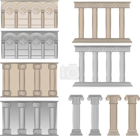 Pillars and columns vector illustratio