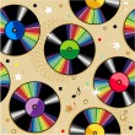 Abstract retro vinyl records repeat pattern (print...