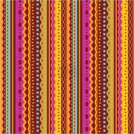 Illustration for Seamless (you see 4 tiles) stripes and laces retro syle pattern (background, wallpaper, print, swatch) of autumn colors - Royalty Free Image