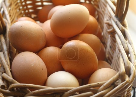 Photo for A closeup of a pile of brown eggs - Royalty Free Image