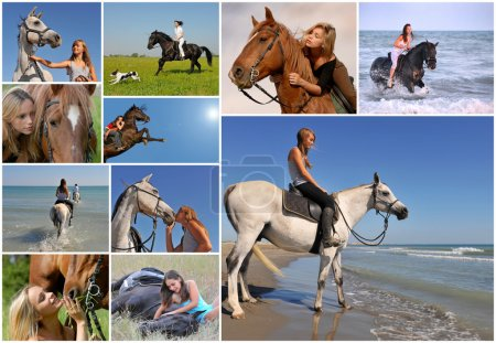 Photo for Composite image with young woman and her best friend horse - Royalty Free Image