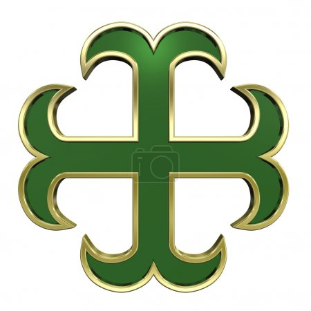 Photo for Green with gold frame heraldic cross isolated on white. Computer generated 3D photo rendering. - Royalty Free Image