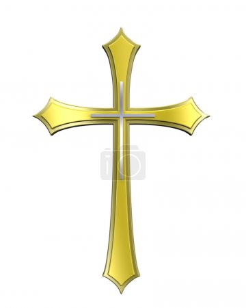 Photo for Gold Christian cross isolated on white. Computer generated 3D photo rendering. - Royalty Free Image