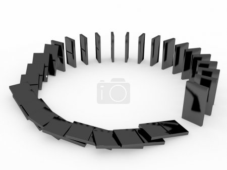 An isolated black domino blocks chain white backgr...