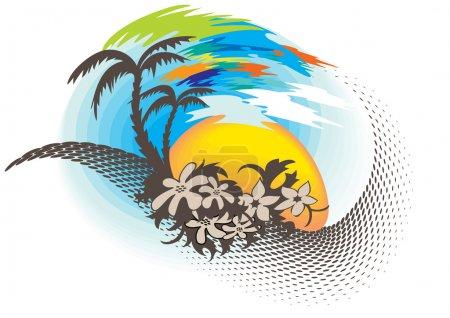 Illustration pour C'est un élément stylisé du paysage tropical - image libre de droit
