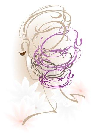 Illustration pour C'est les cheveux d'une belle femme. - image libre de droit