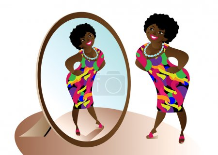 Illustration for Beautiful resilient African-American stands before the mirror - Royalty Free Image