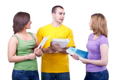 Photo for Group of young students with notebooks talking discussing - Royalty Free Image