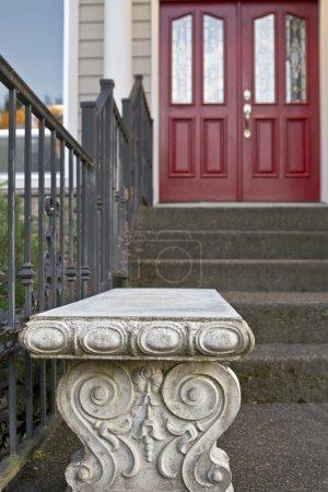 Stone Garden Bench by the Front Door
