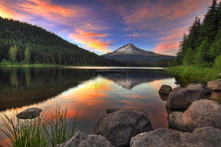 Sunset at Trillium Lake with Mount Hood in Oregon...