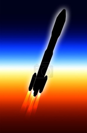 Illustrated rocket and Earth limb