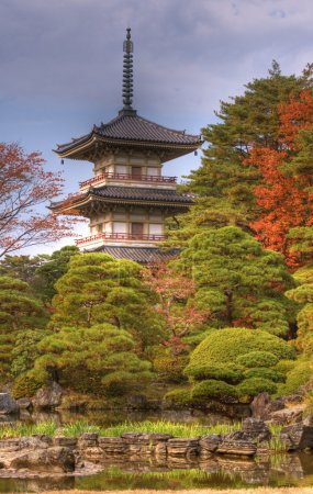 Foto de Autumn image of the garden and Pagoda from Rinoji temple,Sendai,Japan.(HDR image) - Imagen libre de derechos