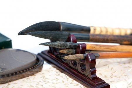 Chinese writing brushes and inkstone