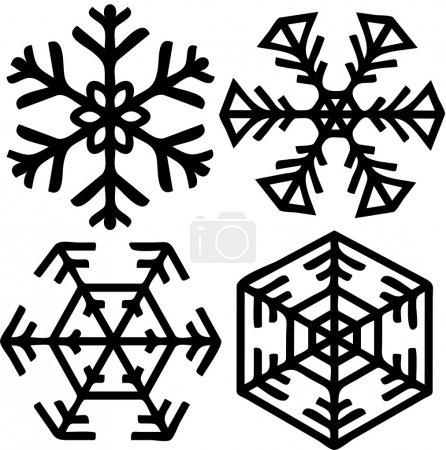 Illustration pour Ceci est 4 formes différentes d'un flocon de neige . - image libre de droit