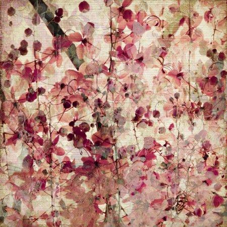 Photo pour Impression fleur rose grunge sur fond antique en bambou côtelé - image libre de droit