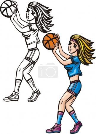 Illustration for Girl with ball plays basketball. - Royalty Free Image