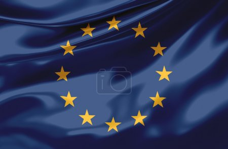 Photo for Satin European Flag - Royalty Free Image