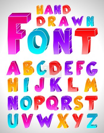 Hand drawn vector font. Letters