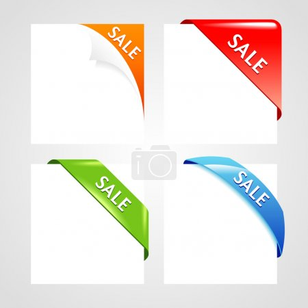 Illustration for Corner collection.Set of business ribbon on gray background. - Royalty Free Image