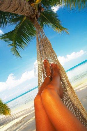 Photo pour Vue de belle femme lisse? jambes s dans le bonheur tropical - image libre de droit