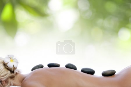 Photo pour Vue rapprochée de la procédure spa sur le dos de la couleur - image libre de droit