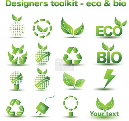 Illustration for Designers toolkit - eco & bio icons - Royalty Free Image