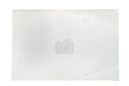 Photo pour Feuille de cahier au carré blanc, isolé sur blanc - image libre de droit