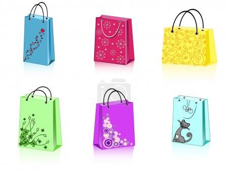 Illustration pour Un groupe de 6 sacs à provisions colorés avec différents ornements - image libre de droit