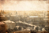 Panoramic Prague. Photo in old image style.