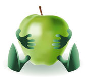 Funny apple is sitting