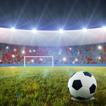 Photo for Soccer ball on penalty disk in the stadium - Royalty Free Image