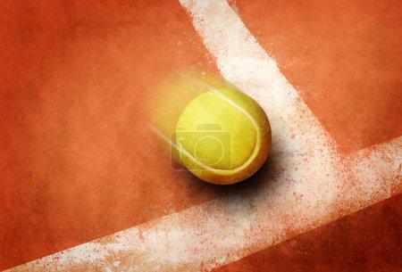 Photo pour Balle de tennis au coin rouge terre champ ligne - image libre de droit