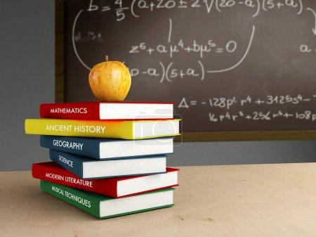 Photo pour Salle de classe intérieure avec livres et pomme jaune - image libre de droit
