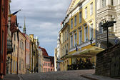 Old Tallinn street in summer morning