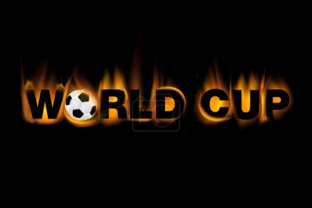 World cup text made from flames includin