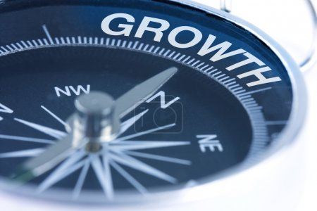 Photo for Growth word on compass showing direction concept - Royalty Free Image