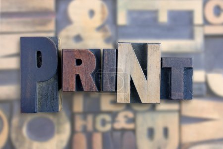 Photo for The word print formed from letterpress printing blocks - Royalty Free Image