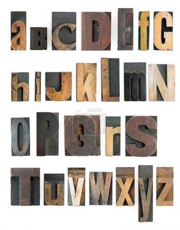 Photo pour Alphabet d'haute résolution de typographie co e avec des blocs de bois - image libre de droit