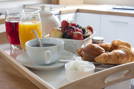 Photo for Healthy breakfast fruits with pastries and tea and coffee - Royalty Free Image