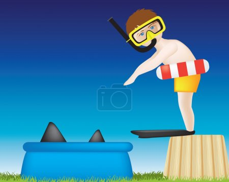 Boy diving into pool of sharks
