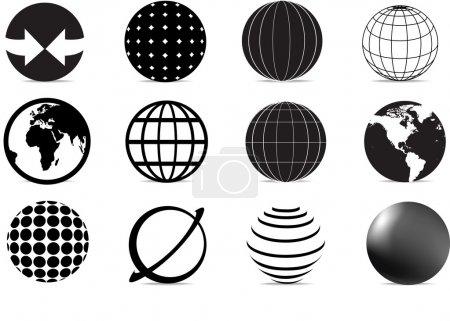 Illustration pour Ensemble de symboles et icônes du monde noir et blanc - image libre de droit
