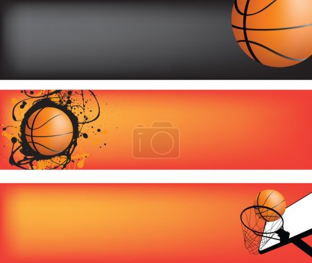 Illustration for Basketball strip template set with space for text, ideal for web banner - Royalty Free Image