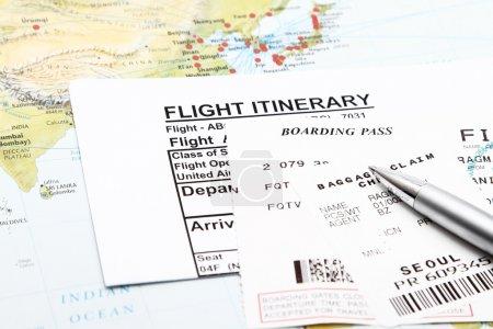 Photo pour Itinéraire des vols, carte d'embarquement et réclamation des bagages . - image libre de droit