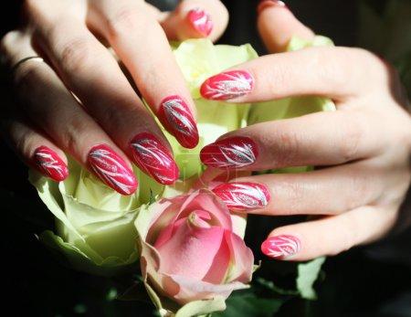 Photo pour Conception de beaux ongles. femme remet roses. - image libre de droit