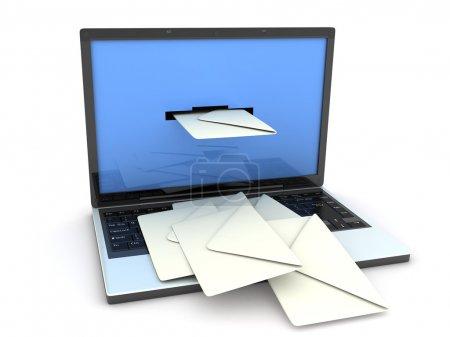 Photo pour Ordinateur portable et courrier (fait en 3d, isolé ) - image libre de droit