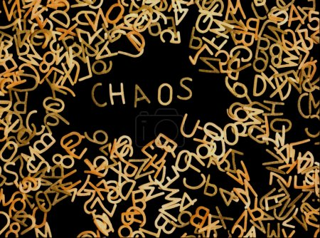 Photo for Chaotic arrangement of pasta alphabet - Royalty Free Image