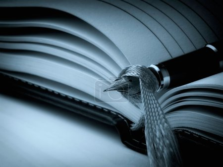 Photo for Closeup of fountain pen on a open diary book. Cyan toned image. - Royalty Free Image