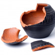 Broken antique clay pot on a white background...