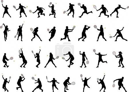Illustration pour 32 silhouettes différentes de joueurs de tennis - vecteur - image libre de droit