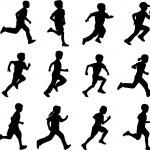 Children running silhouettes - vector